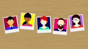 Five polaroid style portraits of men and women in a animated cartoon style.