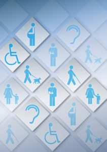 Collage of icons representing different disabilities and impairments. Icons include: man with cane, woman with child, pregnant woman, ear, person with service dog, and person in wheelchair.