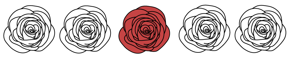 Illustrating of 5 roses in a row. Only the center one is colored in red the rest are left in black and white.