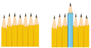 Illustration of two groups of seven pencils in a row. The group of pencils on the right has a blue one as the middle pencil that is much longer than the others.