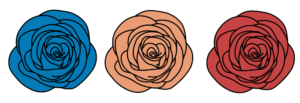 Illustration of three roses. The far left rose is blue, the middle rose is orange, and the far right rose is red.