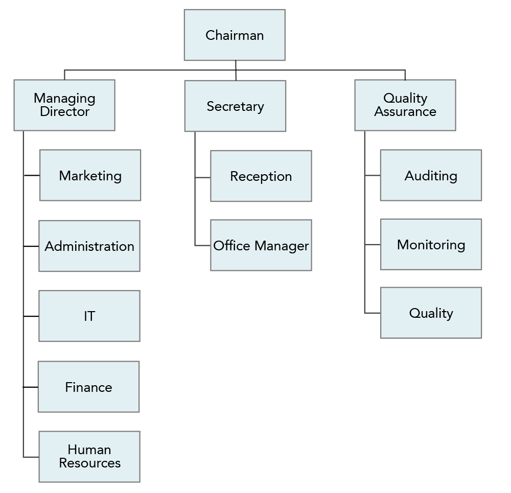 """An organizational chart. """"Chairman"""" is at the top. The left column consists of """"managing director, marketing, administration, IT, finance, and human resources"""". The middle column consists of """"secretary, reception, and office manager"""". The right column consists of """"quality assurance, auditing, monitoring, and quality""""."""