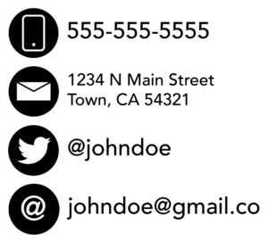 A pictograph conveying a phone number, email address, twitter handle, and street address.