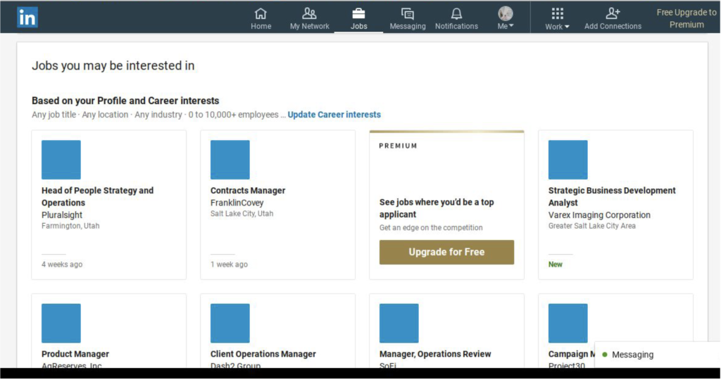 """Screenshot of a LinkedIn page under the Jobs tab. The title of the page reads, """"jobs you may be interested in""""."""