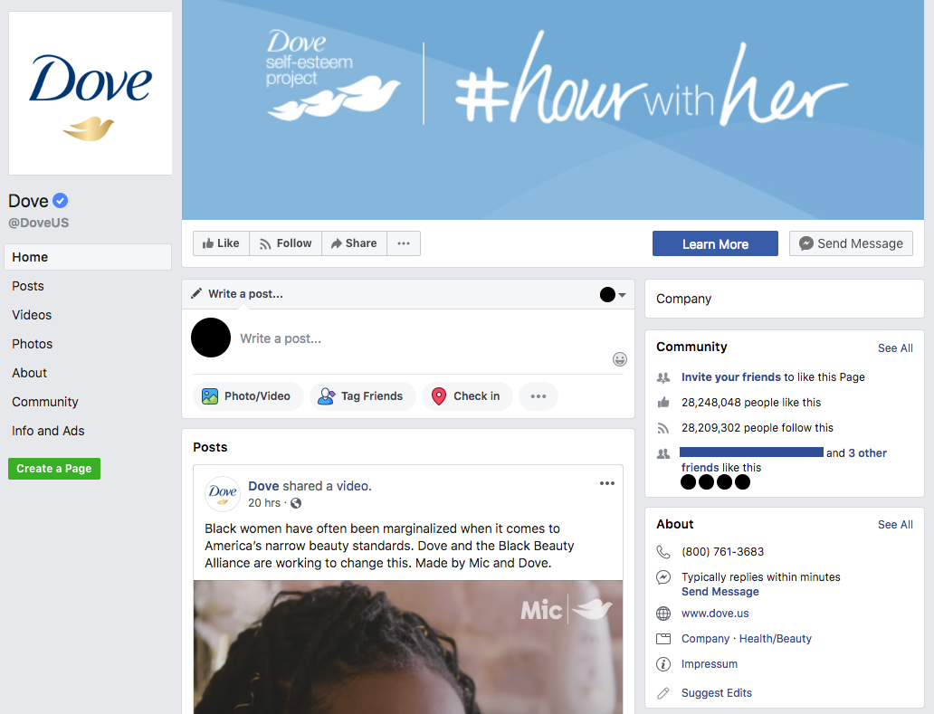 Screenshot of Dove's Hour with Her Twitter homepage. At the top is a blue banner with three doves that reads #hourwithher.