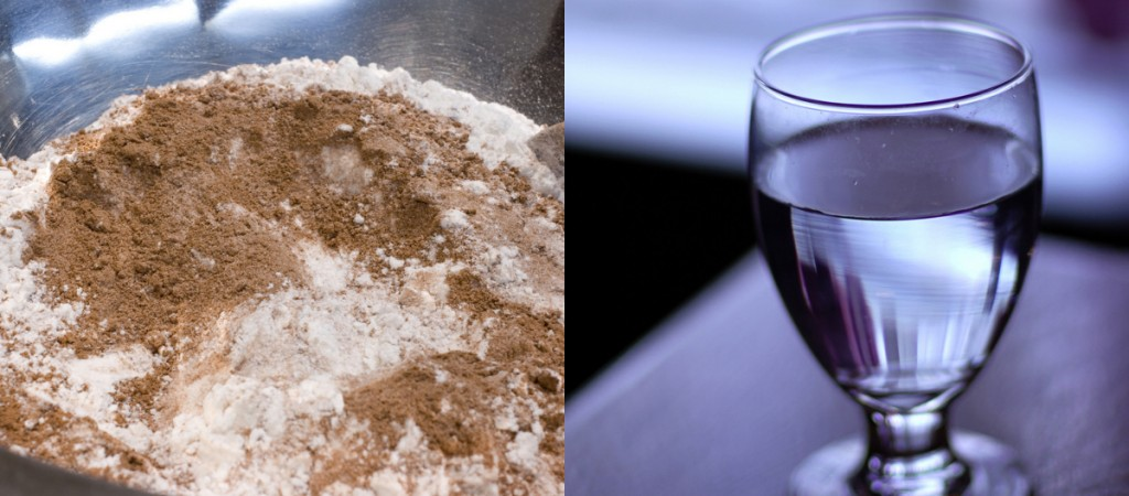"""On the left, the combination of two substances is a heterogeneous mixture because the particles of the two components look different. On the right, the salt crystals have dissolved in the water so finely that you cannot tell that salt is present. The homogeneous mixture appears like a single substance. """"flour and cocoa mixture"""" by Jessica and Lon Binder is licensed under Creative Commons Attribution-NonCommercial-NoDerivs 2.0 Generic; """"a glass of water"""" by Bryan is licensed under a Creative Commons Attribution-NoDerivs 2.0 Generic."""