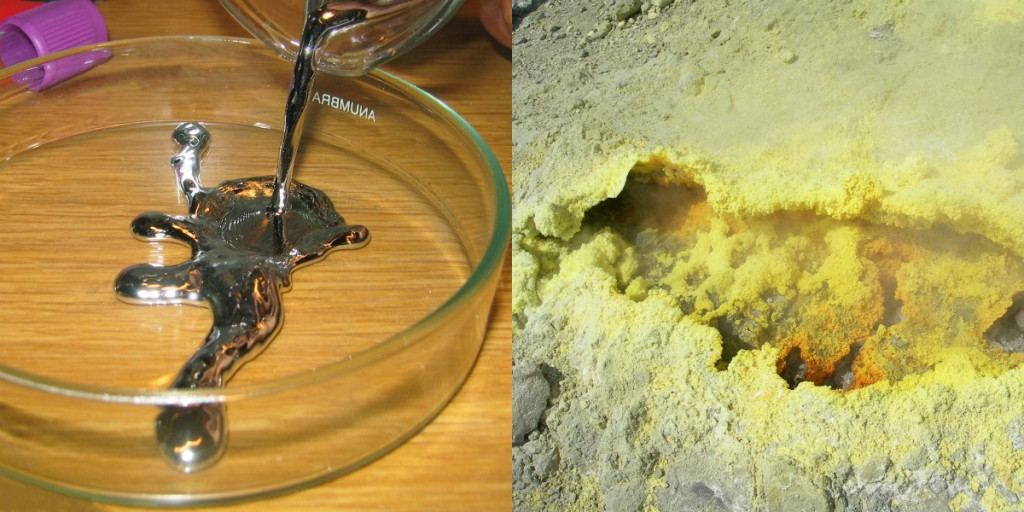 """On the left is some elemental mercury, the only metal that exists as a liquid at room temperature. It has all the other expected properties of a metal. On the right, elemental sulfur is a yellow nonmetal that usually is found as a powder. """"Pouring liquid mercury bionerd"""" is licensed under the Creative CommonsAttribution 3.0 Unported; """"Sulphur-vulcano"""" by Heidi Soosalu is licensed under the Creative Commons Attribution-Share Alike 3.0 Unported."""