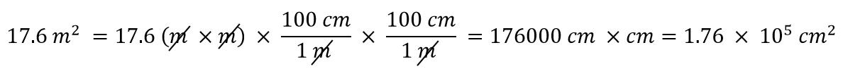 17.6 m^2 = 17.6 (mxm) x (100cm/1m) x (100cm/1m)=176000cm^2