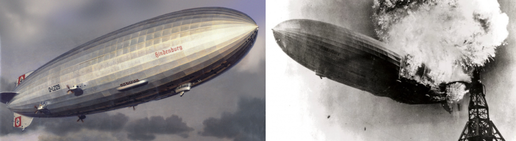 """The German airship Hindenburg (left) was one of the largest airships ever built. However, it was filled with hydrogen gas and exploded in Lakehurst, New Jersey, at the end of a transatlantic voyage in May 1937 (right). Source: """"Hindenburg"""" by James Vaughan is licensed under the Creative Commons Attribution-NonCommercial-ShareAlike 2.0 Generic. """"Hindenburg burning"""" by Gus Pasquerella is in the public domain."""
