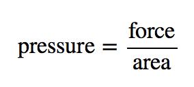 pressure=force/area