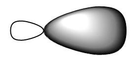 Figure #.#. Illustration of an sp3 hybridized atomic orbital.