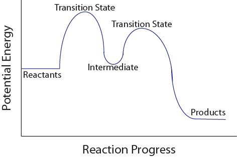 Figure 17.6.1. Multistep reaction potential energy diagram.
