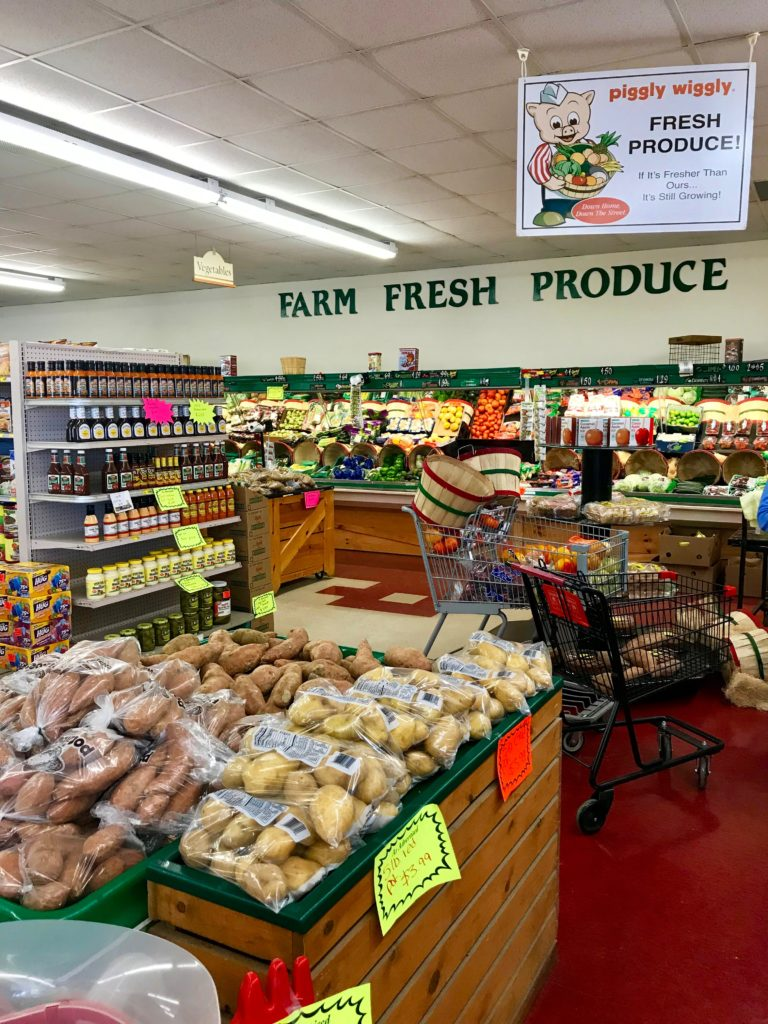 Photograph of the produce section of a store.