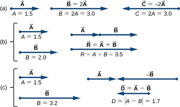 Figure a shows vector A pointing to the right. It has magnitude A=1.5. Vector B=2 time vector A points to the right and has magnitude B = 2 A = 3.0. Vector C = -2 times vector A and has magnitude B = 2.0. Figure b shows vector A points to the right and has magnitude A=1.5. Vector B is shown below vector A, with their tails aligned. Vector B points to the right and has magnitude 2.0. In another view, Vector A is shown with vector B starting at the head of A and extending further to the right. Below them is a vector, labeled as vector R = vector A plus vector B, pointing to the right whose tail is aligned with the tail of vector A and whose head is aligned with the head of vector B. The magnitude of vector R is equal to magnitude A plus magnitude B = 3.5. Figure c shows vector A points to the right and has magnitude A=1.5. Vector B is shown below vector A, with their tails aligned. Vector minus B points to the right and has magnitude 3.2. In another view, Vector A is shown with vector minus B pointing to the left and with its head meeting the head of vector A. Below them is a vector, labeled as vector D = vector A minus vector B, shorter than B and pointing to the left whose head is aligned with the head of vector B. The magnitude of vector D is equal to magnitude of quantity A minus B = 1.7.