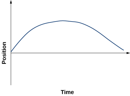 Graph shows position plotted versus time. It starts at the origin, increases reaching maximum, and then decreases close to zero.