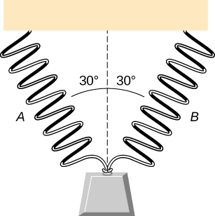 Figure shows two identical springs hanging side by side. Their lower ends are brought together and support a weight. Each spring makes an angle of 30 degrees with the vertical.