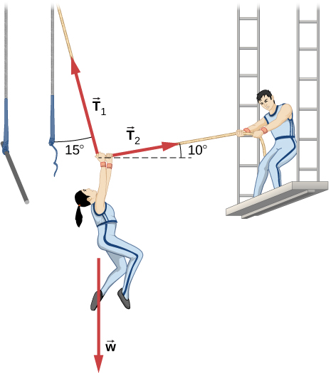 A circus performer hanging from a trapeze is being pulled to the right by another performer using a rope. Her weight is shown by a vector w acting vertically downward. The trapeze rope exerts a tension, T sub one, up and to the left, making an angle of fifteen degrees with the vertical. The second performer pulls with tension T sub two, making an angle of ten degrees above the positive x direction.