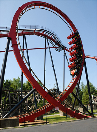 A photo of a roller coaster with a vertical loop. The loop has a tighter curvature at the top than at the bottom, making an inverted teardrop shape.