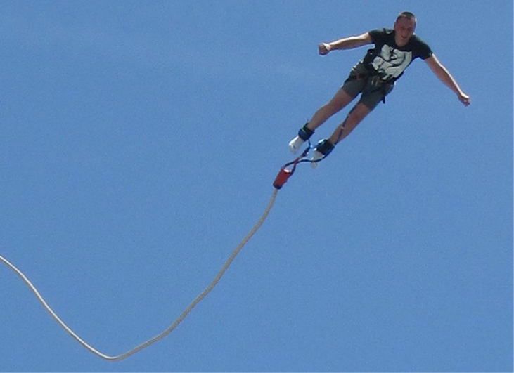 A photograph of a bungee jumper.