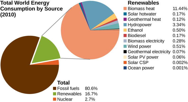 This figure presents pie charts of the total world energy consumption by source in 2010. A pie chart of the total energy consumption indicates that Fossil fuels accout for 80.6 percent, Renewables for16.7 percent, and nuclear for 2.7 percent. A second pie chart breaks down the renewable sources. In this pie chart, biomass heat accounts for 11.44 percent of the renewable sources, solar hot water for 0.17 percent, geothermal heat for 0.12 percent, hydropower for 3.34 percent, ethanol for 0.50 percent, biodiesel for 0.17 percent, biomass electricity for 0.28 percent, wind power for 0.51 percent, geothermal electricity for 0.07 percent, solar P V power for 0.06 percent, solar C S P for 0.002 percent, and ocian power for 0.001 percent.