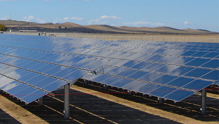 A photograph of a large solar cell array.