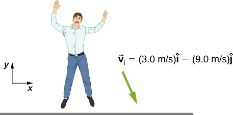 A drawing of a person near the ground. His velocity vector is directed down and slightly to the left and is given as 3.0 meters per second i hat minus 9.0 meters per second j hat. The x y directions are shown for reference, with x to the right and y upward.