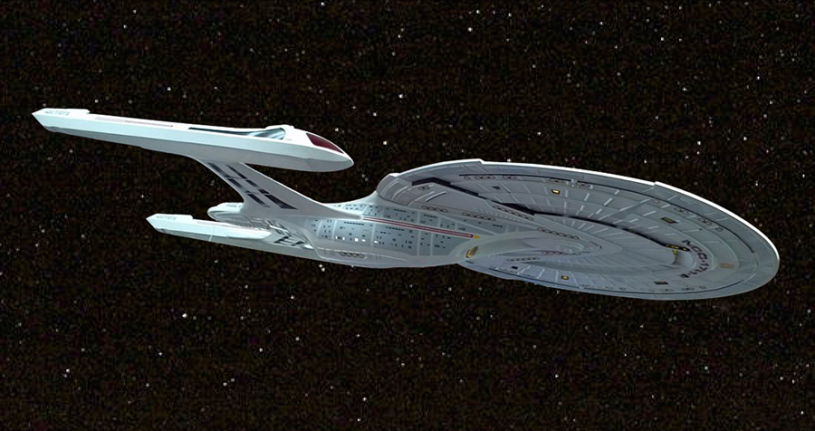 An illustration of the Enterprise from Star Trek with stars in the background.