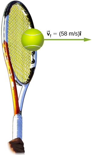A tennis ball leaves the racket with velocity v sub f equals 58 meters per second i hat which points horizontally to the right.