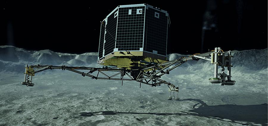 An artist's rendering of Philae landing on a comet.