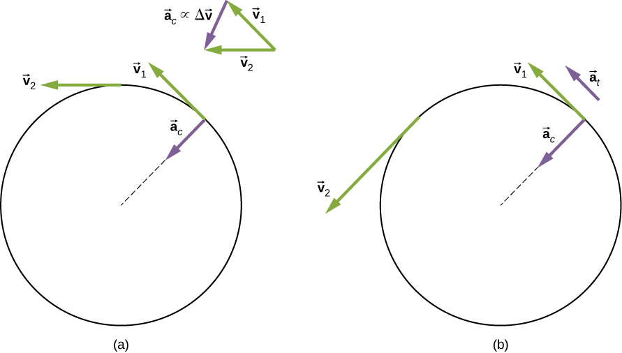Figure A illustrates uniform circular motion. The centripetal acceleration ac has its vector inward toward the axis of rotation. There is no tangential acceleration and v2 is equivalent to v1. Figure A illustrates nonuniform circular motion. The centripetal acceleration ac has its vector inward toward the axis of rotation. Tangential acceleration at is present and v2 is larger than v1.