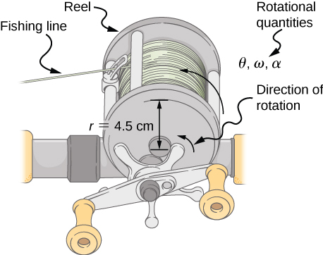 Figure is a drawing of a fishing line coming off a rotating reel. Rotation radius is 4.5 cm, rotation takes place in the counterclockwise direction.