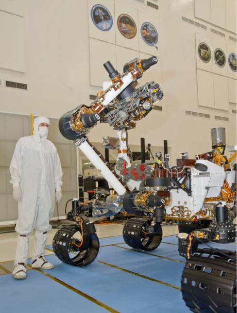 A photograph of the NASA rover Curiosity during testing at the Jet Propulsion Laboratory.