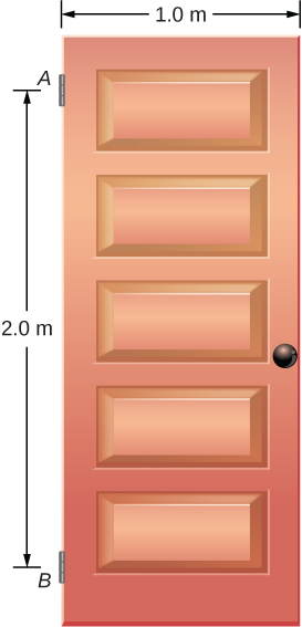 Figure is a schematic drawing of a swinging vertical door supported by two hinges attached at points A and B. The distance between points A and B is 2 meters. Door is one meter wide.