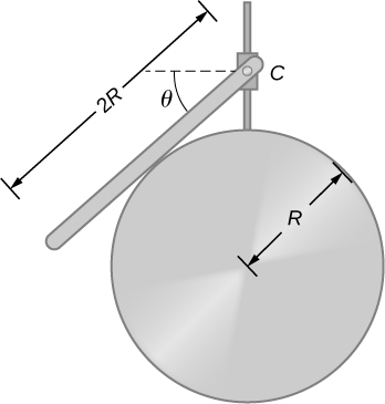 Figure shows a uniform rod of length 2R and mass that M is attached to a small collar C and rests on a cylindrical surface of radius R. Angle between the collar and the line parallel to the ground is theta.