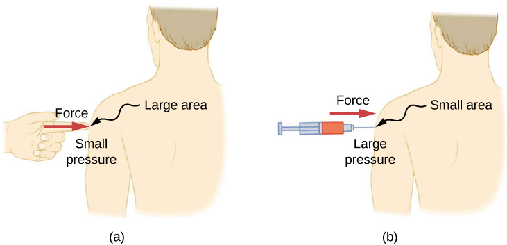 Figure A is a drawing of a person being poked with a finger in a shoulder. The force of the finger is shown taking up a larger area, which produces only a small amount of pressure. Figure B is a drawing of a person being poked with a syringe with needle in a shoulder. The force of the syringe is shown taking up a smaller area, which produces a large amount of pressure.