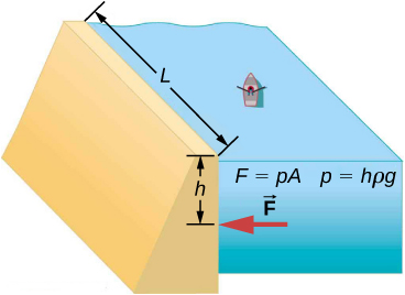 Figure is a schematic drawing of a dam with length L and height h erected on the river. There is a small canoe in the river with a single passenger. The formulas F equals p times A, and p equals h times p times g are included in this illustration.