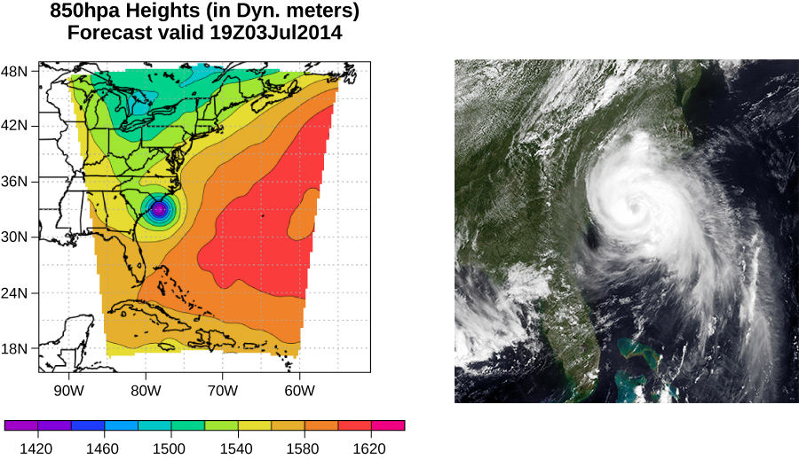 Left figure is a pressure map of Hurricane Arthur travelling up the East Coast. The low pressure center is indicated as the blue dot. Right figure is a satellite photo of Hurricane Arthur travelling up the East Coast of the United States.
