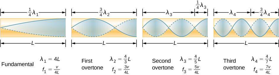 Picture is a diagram of the fundamental and three lowest overtones for a tube closed at one end. Fundamental has one-fourth of its wavelength in a tube. First overtone has three-fourth of its wavelength in a tube, second overtone has five-fourth of its wavelength in a tube, third overtone has seven-fourth of its wavelength in a tube. All have maximum air displacements at the open end and none at the closed end.