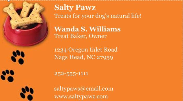 Salty Pawz does not have marketing materials, does no promotions or advertising. Wanda thinks it might be a good idea, but currently she relies on word of mouth to advertise her business. She has business cards she purchased from an online service and encloses one with each order. Jamie dropped some off at the local veterinarian's office a few months ago, but no one has checked to see if they are still there.