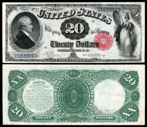 An image of very old US currency bills, the front and back of a $20 bill
