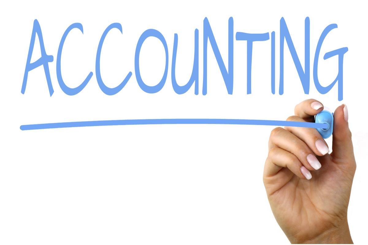 "The word ""accounting"" written in blue."
