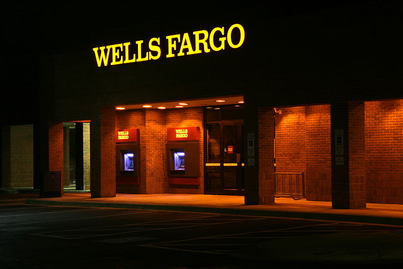 A picture of the outside of a Wells Fargo bank.