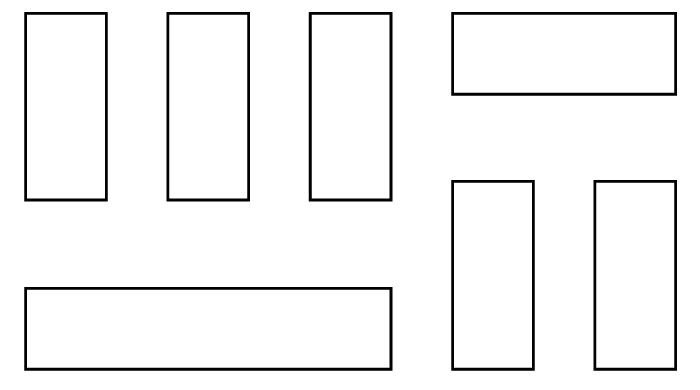 floorplan with shelves in rows
