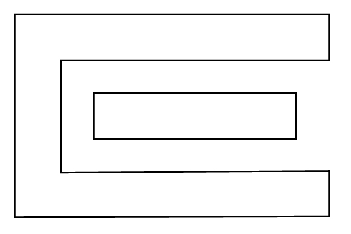 floor plan with shelves in a loop layout