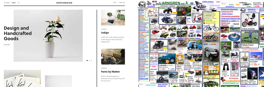 side by side comparison of two websites. One is very sparse with a simple color palette while the one is very cluttered with small, hard to read text and lots of different colors and photos.