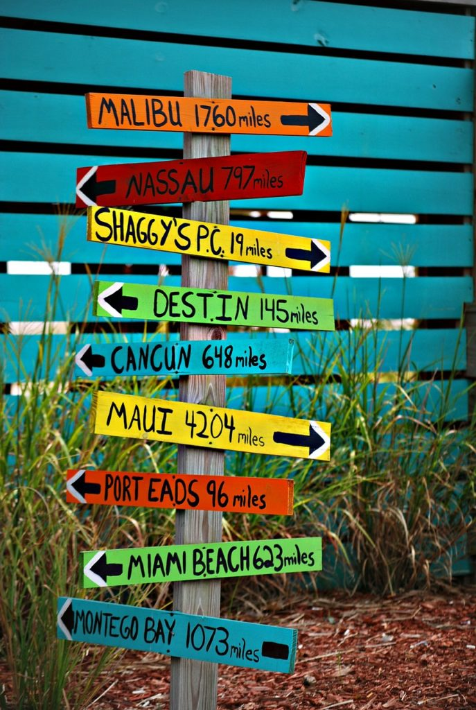 A sign post with nine different signs pointing to different locations with the distance to each location written out. Malibu is 1760 miles away. Nassau is 797 miles away. Shaggy's PC is 19 miles away. Destin is 145 miles away. Cancun is 648 miles away. Maui is 4204 miles away. Port Eads is 96 miles away. Miami Beach is 626 miles away. Montego Bay is 1073 miles away.