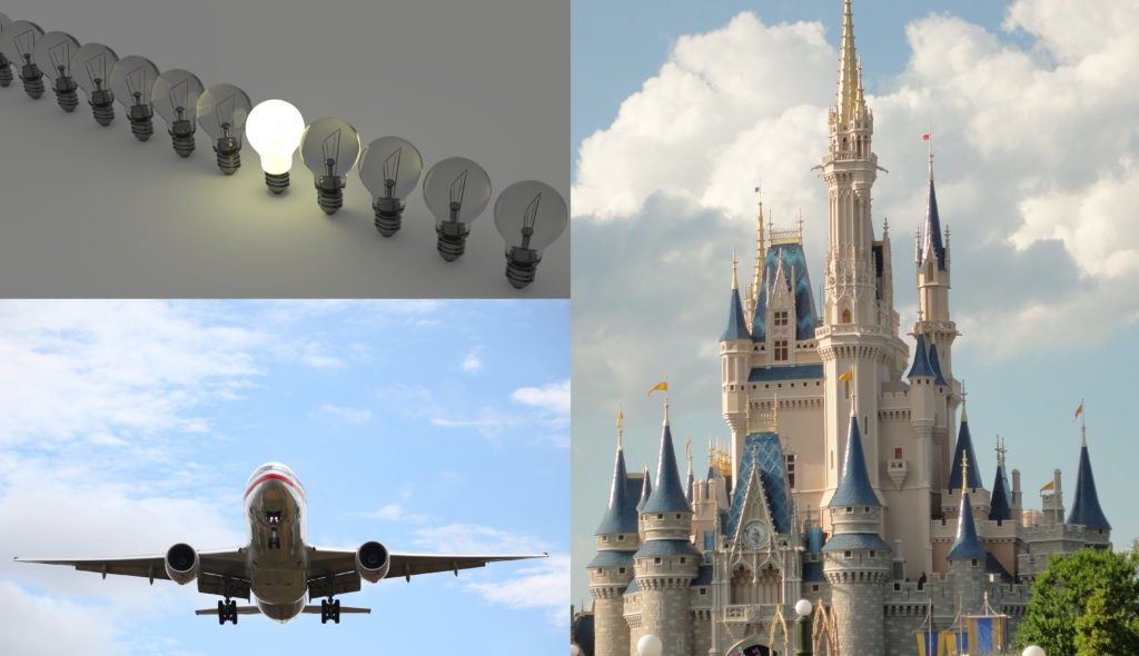Three items are shown in this image: light bulbs, an airplane, and the castle at Disneyland.