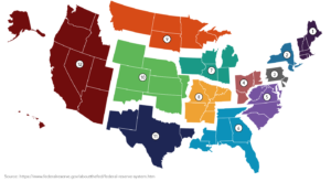 This map of the United States shows the 12 Federal Reserve districts. Appropriate alternative text can be located in the table below this image.