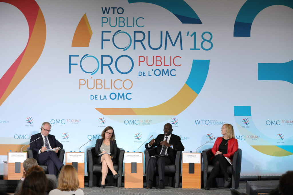 speakers and participants at the 2018 WTO public forum