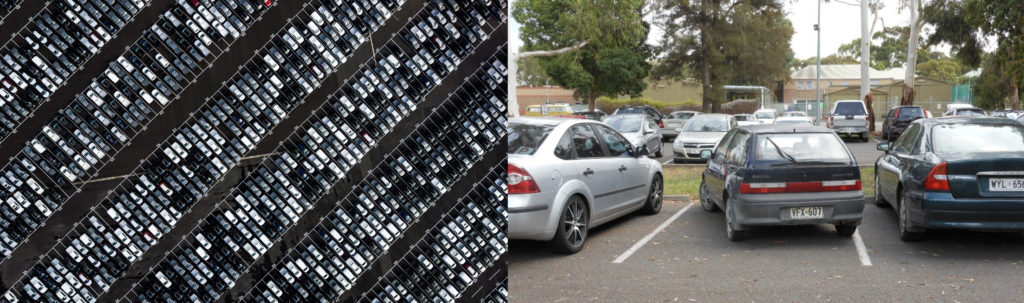 The first photo shows a large dealership parking lot with hundreds of cars parked in neat rows. The second photo shows a parking lot close up, with one car parked at a steep angle in a straight parking spot.